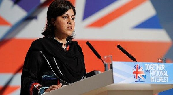 Baroness Sayeeda Warsi addresses the Conservative Party convention. She was the first Muslim woman  to lead the party and join the Conservative government.