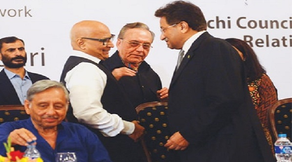 Former Vajpayee aide Sudheendra Kulkarni, who was attacked by Shiv Sena for organizing the launch of Khurshid Mahmud Kasuri's book in Mumbai last month, is introduced to former Pakistan president Pervez Musharraf by Kurshid Kasuri at a ceremony held to launch the book in Karachi on Monday. Also seen is Congress leader Mani Shankar Aiyar. —Fahim Siddiqi/White Star