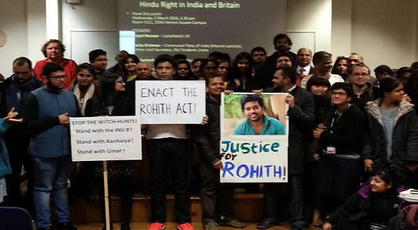 JNU students protest in solidarity with Hyderabad University's late student Rohith Vemula.