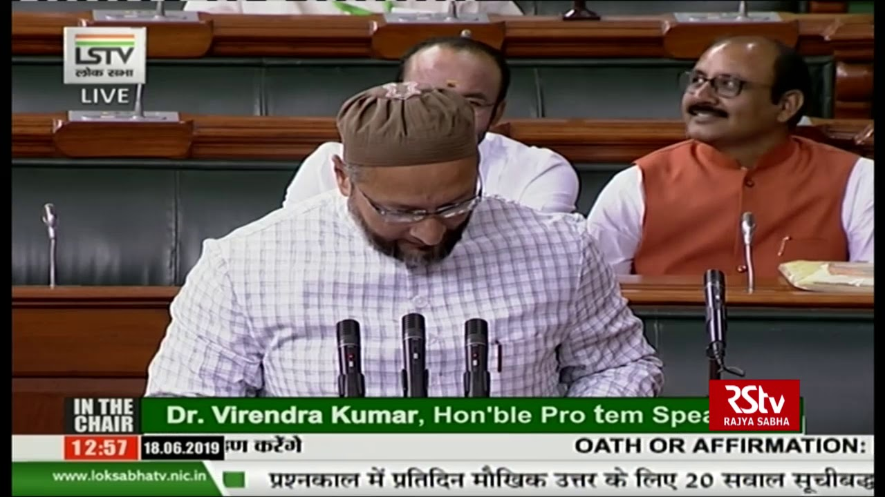 Chants of 'Jai Shri Ram' as Owaisi Takes Oath: MIM Chief Responds with 'Jai Bhim'